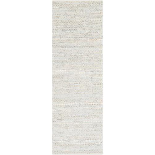 2.5' x 8' Ivory White and Gray Stirred Reversible Area Throw Rug Runner - IMAGE 1