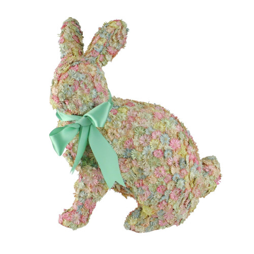 """12.5"""" Multi-Colored Flowered Sitting Easter Bunny Rabbit Spring Tabletop Decoration - IMAGE 1"""