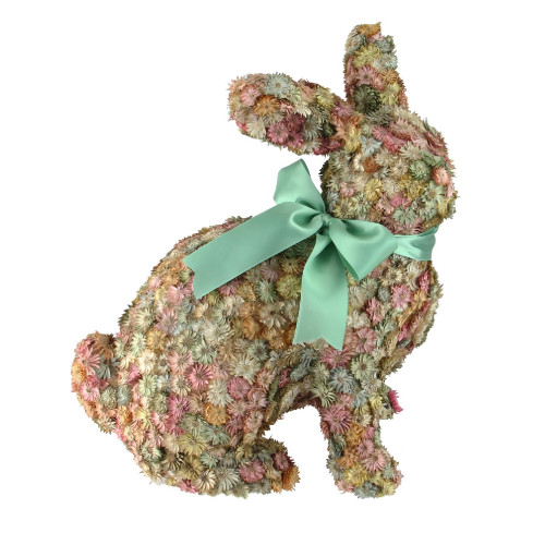 """12.5"""" Multi-Colored Flowered Sitting Bunny Rabbit Spring Tabletop Decoration - IMAGE 1"""