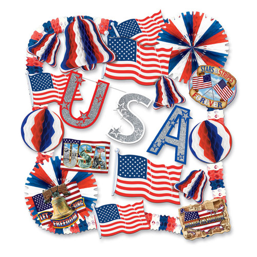 22-Piece Red and Blue Patriotic USA 4th of July Decorating Kit - IMAGE 1