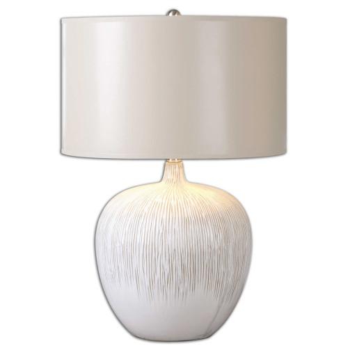 """23"""" Ivory White Glazed Ceramic Table Lamp - IMAGE 1"""
