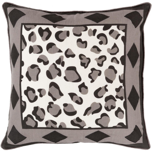 """22"""" Jet Black and Gray Contemporary Square Throw Pillow - Down Filler - IMAGE 1"""