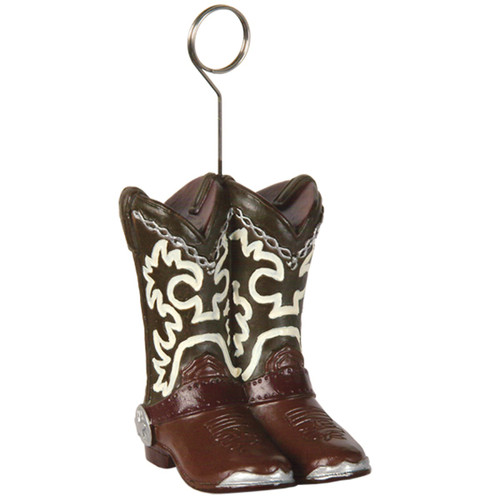 Pack of 6 Brown and Silver Western Cowboy Boots Photo or Balloon Holders 6oz. - IMAGE 1