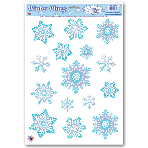 """Club Pack of 180 Crystal Snowflake Window Cling Christmas Decorations 17"""" - IMAGE 1"""