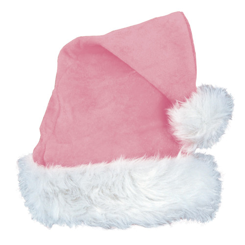 Club Pack of 12 Hot Pink Velvet with Plush White Trim Santa Claus Hat Costume Accessories - IMAGE 1