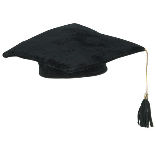 Club Pack of 12 Black Plush Graduation Cap Costume Accesories 10 - Medium - IMAGE 1