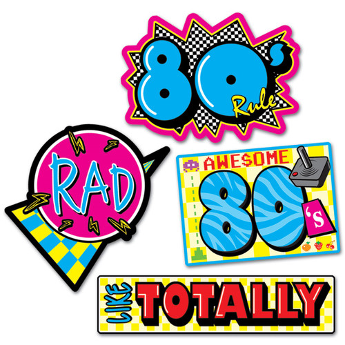 """Club Pack of 48 Vibrantly Colored 80's Cutout Party Decors 15.5"""" - IMAGE 1"""