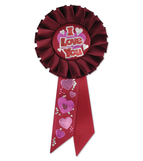 """Pack of 6 Red and pink """"I Love You"""" Valentine's Day Celebration Party Rosette Ribbons 6.5"""" - IMAGE 1"""