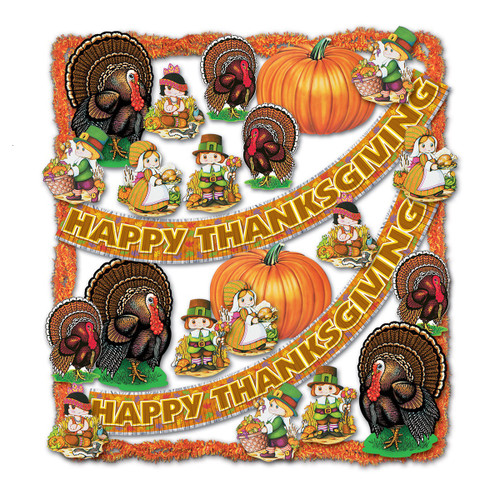 Club Pack of 25 Vibrantly Colored Pilgrims, Turkeys and Pumpkins Happy Thanksgiving Decorating Kit - IMAGE 1