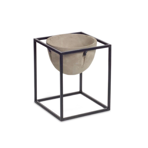 """10.5"""" Ivory and Black Solid Pot with Stand Planter Set - IMAGE 1"""
