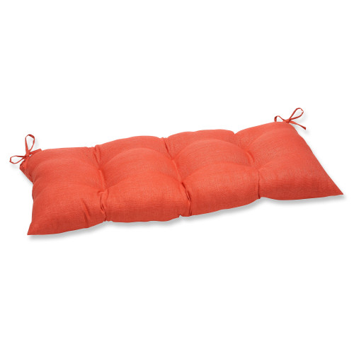 """44"""" Orange Reversible Tufted Outdoor Cushion with Ties - IMAGE 1"""