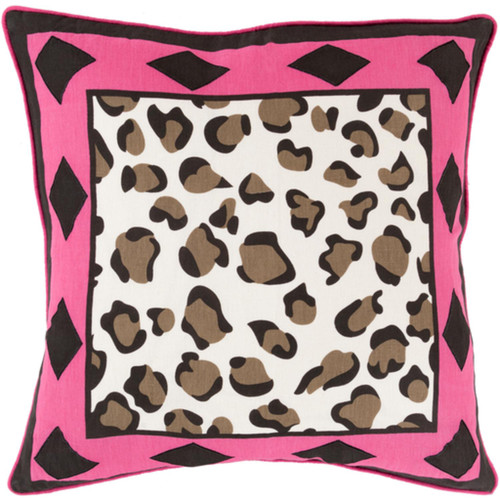 """18"""" Jet Black and Pink Contemporary Square Throw Pillow - Down Filler - IMAGE 1"""