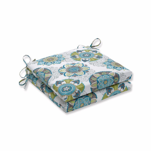 """Set of 2 Green and Blue Suzani Outdoor Patio Square Seat Cushions with Ties 20"""" - IMAGE 1"""
