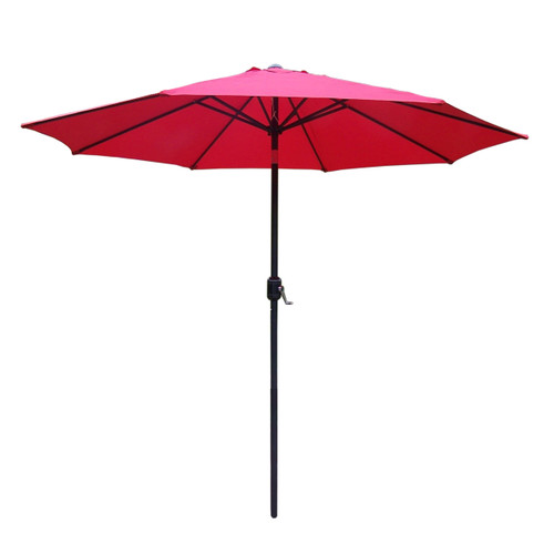 9ft Outdoor Patio Market Umbrella with Hand Crank and Tilt, Red - IMAGE 1