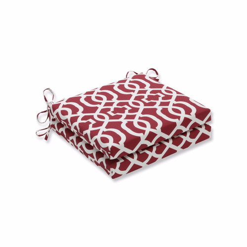 """Set of 2 Red and White Geometric Square Outdoor Patio Chair Seat Cushions with Ties 20"""" - IMAGE 1"""