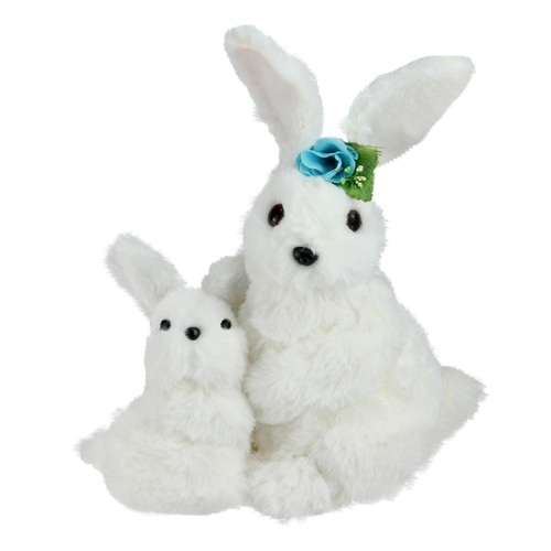 """10"""" White Plush Standing Mother and Baby Easter Bunny Rabbit Spring Figure - IMAGE 1"""