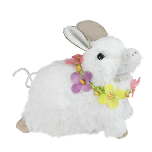 """6.5"""" White Sisal Piglet with Floral Lei Spring Figure - IMAGE 1"""