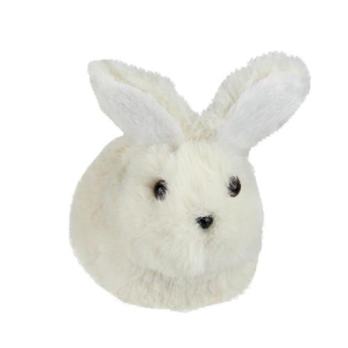 "4.75"" White and Black Plush Sitting Easter Bunny Rabbit Spring Figure - IMAGE 1"