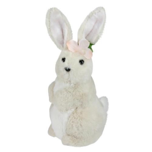 "11.5"" Beige Plush Standing Easter Bunny Rabbit Girl Spring Tabletop Figurine - IMAGE 1"