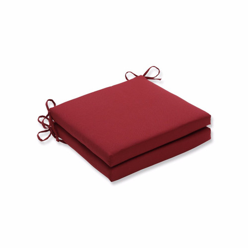 """Set of 2 Red Solid Contemporary Outdoor Patio Seat Cushions with Ties 20"""" - IMAGE 1"""