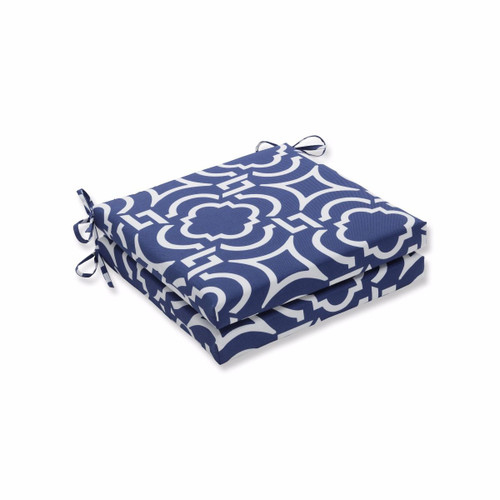 "Set of 2 Blue and White Geometric Motif Outdoor Patio Corner Seat Cushion with Ties 20"" - IMAGE 1"