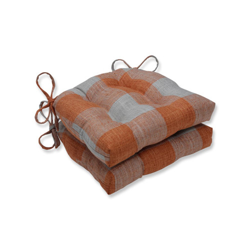 """Set of 2 Orange Plaid Pattern Tufted Indoor Square Reversible Chair Pad with Ties 16"""" - IMAGE 1"""