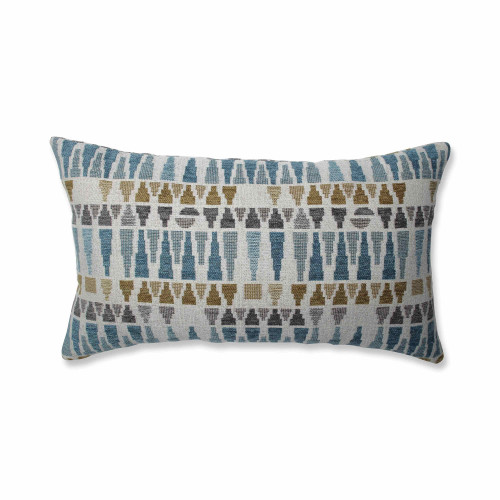 "18.5"" Gray and White Geometric Print Rectangular Throw Pillow - IMAGE 1"