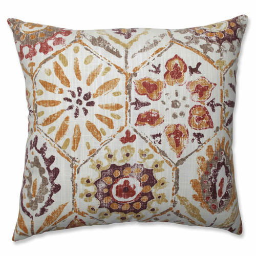 """18"""" White and Purple Floral Print Square Throw Pillow - IMAGE 1"""