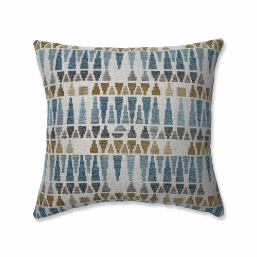 """16.5"""" Gray and Blue Contemporary Square Throw Pillow - IMAGE 1"""