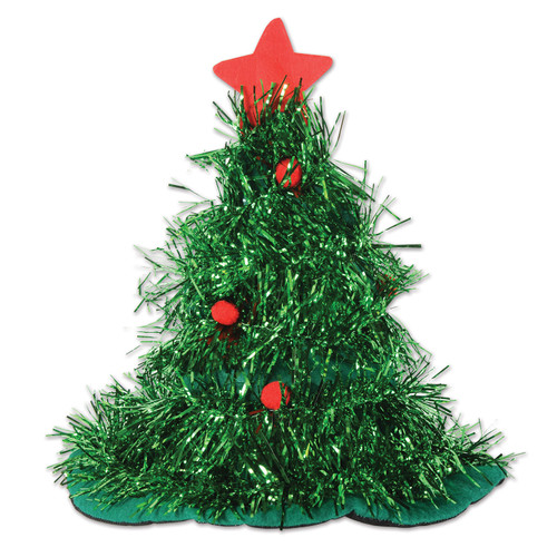 Pack of 12 Green Tinsel Christmas Tree Hats Costume Accessories - IMAGE 1
