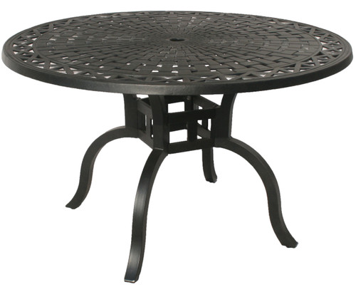 """48"""" Jet Black Contemporary Motif Outdoor Patio Dining Table - IMAGE 1"""
