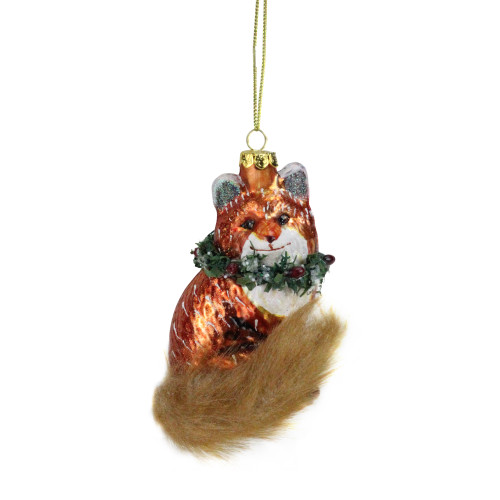 """4.5"""" Brown and Green Fox with Faux Fur Tail and Wreath Christmas Ornament - IMAGE 1"""