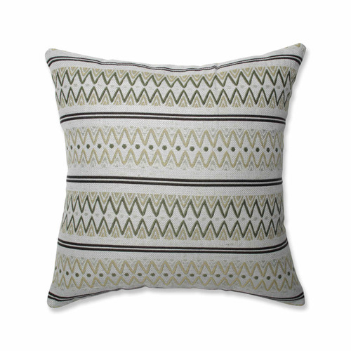 """16.5"""" White and Green Striped Square Throw Pillow - IMAGE 1"""