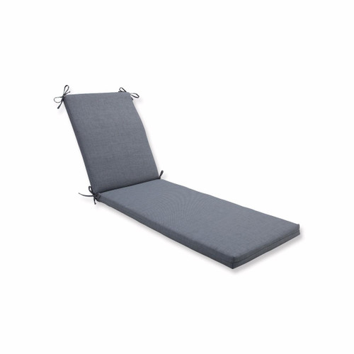 """80"""" Gray UV Resistant Outdoor Patio Rectangular Chaise Lounge Cushion with Ties - IMAGE 1"""