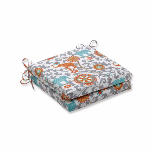 """Set of 2 Orange and Gray Floral Print Outdoor Patio Corner Seat Cushion 20"""" - IMAGE 1"""