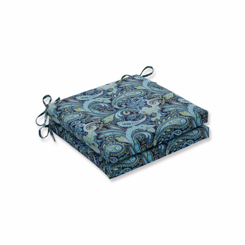 "Set of 2 Blue Paisley Motif Outdoor Patio Corner Seat Cushion with Ties 20"" - IMAGE 1"