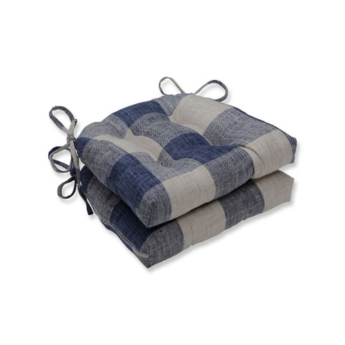 """Set of 2 Blue Plaid Pattern Tufted Indoor Square Reversible Chair Pad with Ties 16"""" - IMAGE 1"""