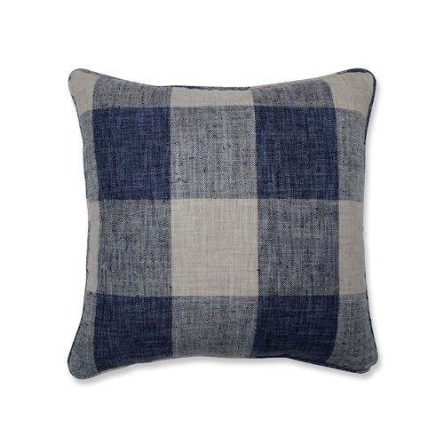 """18"""" Blue and Gray Plaid Motif Square Throw Pillow - IMAGE 1"""
