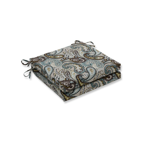 "Set of 2 Blue and White Paisley Motif Square Outdoor Patio Corner Seat Cushion with Ties 20"" - IMAGE 1"