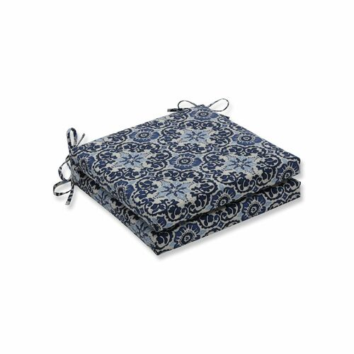"Set of 2 Blue and White Damask Motif Outdoor Patio Corner Seat Cushion with Ties 20"" - IMAGE 1"