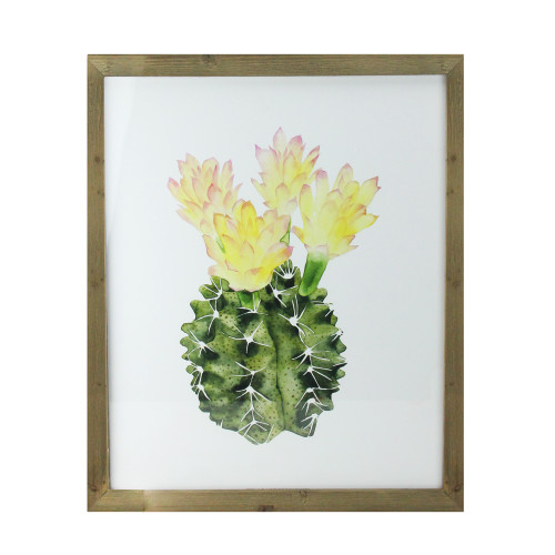"24"" Yellow and Green Cactus Wooden Framed Print Wall Art - IMAGE 1"