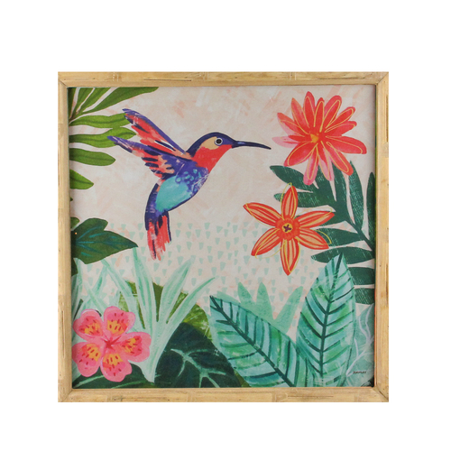 """14"""" Blue and Red Humming Bird Wooden Framed Prints Wall Art - IMAGE 1"""
