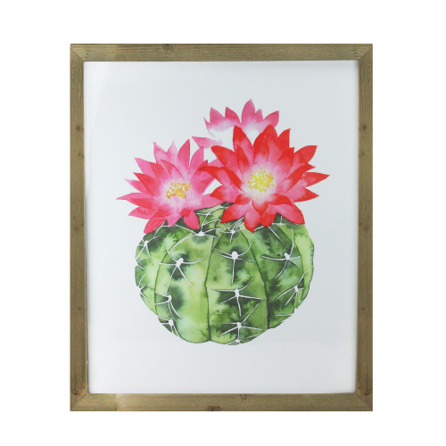 """24"""" Green and Pink Cactus Decorative Wooden Framed Print Wall Art - IMAGE 1"""