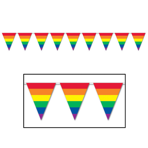 Club Pack of 12 Green and Yellow Bright Summer Rainbow Pennant Banner Decors 27' - IMAGE 1