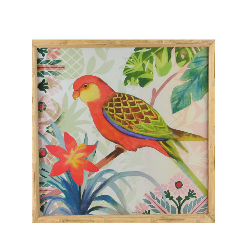 "14"" Red and Green Love Bird Decorative Wooden Framed Print Wall Art - IMAGE 1"
