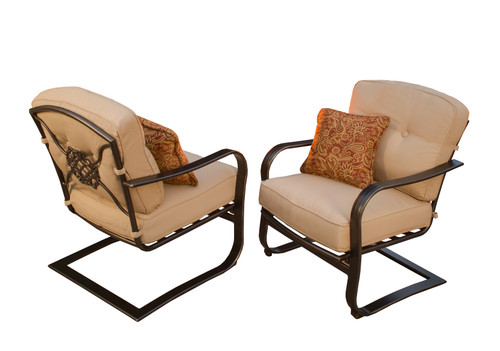 "Set of 2 Beige and Black Patio Spring Chairs 36.25"" - IMAGE 1"