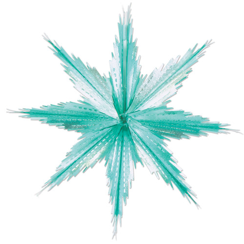 """Club Pack of 24 Silvery Turquoise 2-Tone Metallic Look Christmas Snowflake Decorations - 11.5"""" - IMAGE 1"""