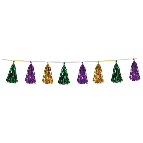 Club Pack of 12 Decorative Holiday Gold, Green and Purple Metallic Tassel Garland 8' - IMAGE 1