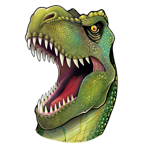 """Club Pack of 12 Green and White Dinosaur Face with Razor Sharp Teeth Party Cutouts Decors 34"""" - IMAGE 1"""