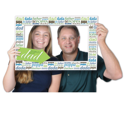 """Club Pack of 12 Green and Blue Father's Day Digital Photo Fun Frame with Handheld Props 23.5"""" - IMAGE 1"""